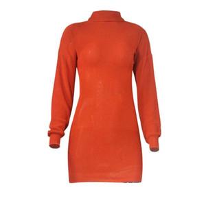 Nova Chegada Mulheres Casuais Tartaruga Pescoço Manga Longa Bodycon Sweater Sexy Dress Street Estilo Vestidos de malha camisa de lã Saia S-XL
