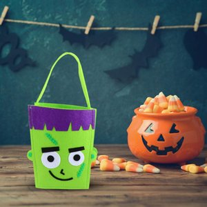 1Pc Trick or Treat Bag Novel Portable Handle Chic Halloween Decor Candy Bag Gift Goodies Tote Non-Woven Bucket
