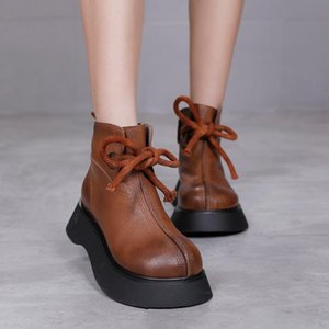 2020Winter New Solid Color Color Casual Boots Pelle Martin Boots Women's Wedge Retro corda