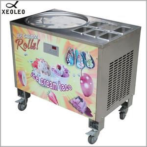 XEOLEO Roll Ice cream Machine 900W Fry Roll Ice maker 45cm Pot Yogurt machine Frier 110 220V Air cooling with 6 Buckets
