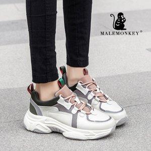 MALEMONKEY Femmes Sport Chaussures de sport en cuir véritable Casual respirant Bas Sneaker Chaussures confortables Plateforme Femmes 012874 201019