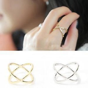 Hot Selling Woman Silver Gold Plated Cross Hollow Surround with Joint Index Finger Tail Ring Simple Rings Wholesale