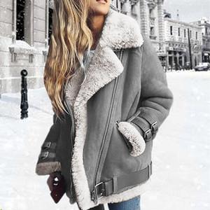 Women Jacket Women Lapel Suede Leather Buckle Cool Pilot Jacket Faux Lamb Wool Motorcycle Jackets large size Coat sweatshirt 201016