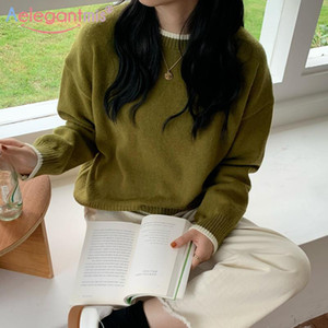 Aelegantmis Vintage Örme Kazak Kadın Kazaklar Rahat Gevşek Yumuşak O Boyun Uzun Kollu Katı Süveter 4 Renkler Kore Chic Lady