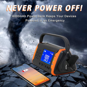 Guangzhou Juropin 2020 Outdoor Hand Crank Solar Powered Portable AM FM NOAA Radio with 4000mAh Battery Power