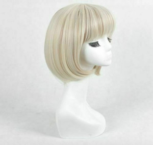 For Cosplay Gwen Stacy Blonde BOB Cosplay Costume Wig + Wig Cap