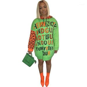 Одежда Casual письмо Отпечатано женщин Повседневные платья Leopard Дизайнер капюшоном дамы Щитовые Dreses Сыпучие Женщины Теплый