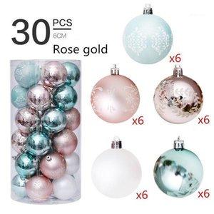 Рождественские украшения 30 шт. 6 см пластиковые шарики 2021 рождественские для домашнего дерева кулон орнаменты1
