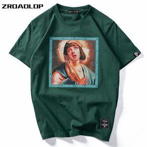 Zroadlop Meryem Erkek Tişörtleri 2020 Komik Baskılı Kısa Kollu T-shirt Yaz Hip Casual Pamuk Hop Tees Streetwear Tops