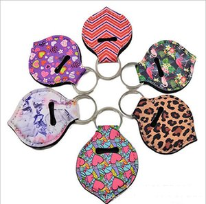 Neoprene Keychains Lipstick Holder Chapstick Bags Cover Lipstick Holder Bag Key Ring Colorful Striped Print Gift Wrap 6 Designs IIA777