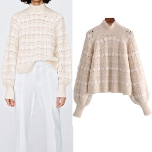 Pseewe Za Turtleneck Knit Camisola Mulher 2020 Vintage Lace Faux Pearl Appliqués Hollow Out manga Mohair Christmas Sweater H1211