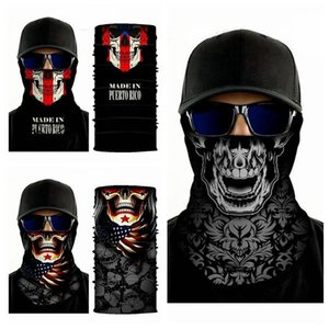 IIA211 Echarpe Bandanas Coiffures Halloween Party Cyclisme Mode transparente Crâne magique Imprimer Masques Nouveauté Wraps bandanas IIA211 Sca Lbfj