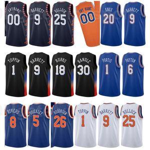 Print Basketball Derrick Rose Jersey Elfrid Payton 6 Immanuel Quickley 5 RJ Barrett 9 Julius Randle 30 Alec Burks Пользовательский город заработал