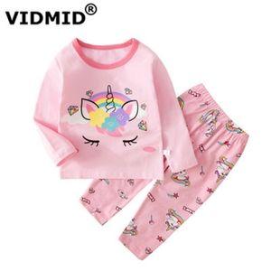 Vidmid New Baby Girls Pijamas Unicorn Ropa Conjuntos de manga larga camisetas + Pantalones Niños Niñas Algodón Niño Ropa interior para niños 4049 Y200831