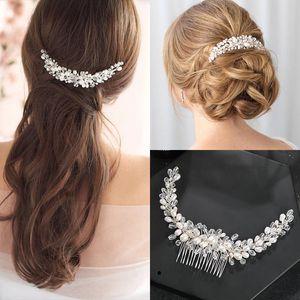 Luxury Fresh Water Pearls Silver Color Tiara Hair Combs Handmade Crystal Women Wedding Hair Accessories Bridal Fashion Jewelry