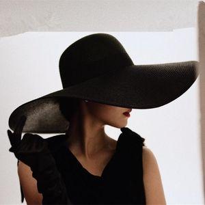 Ladies Oversized Straw Hat Silver Silk Sunscreen French Girl Retro Beach Hat Vacation Sun Fisherman Travel Popular