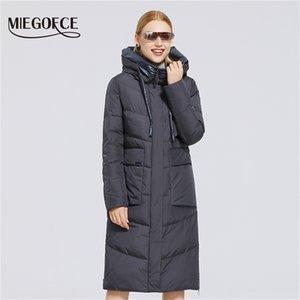 Miegofce Kış Yeni kadın Pamuk Ceket Orta Uzunlukta Rüzgar Geçirmez Basit Stil Rüzgar Geçirmez Ceket kadın Parka Moda Parka Y201001