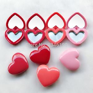 40pcs / lot Liebes-Herz-Form-Rouge Lippenstift Box Lidschatten Gehäuse mit Aluminium-Pallet Leere Platte Kleine kosmetische kompakten Spiegel