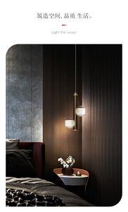 Post-modern LED Brass Pendant Lights Bedroom Bedside Luxury Clear Glass Lamps for Living Room Loft Villa Home Indoor Lightings