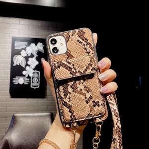 Funda telefónica de la cartera del patrón de serpiente para el iPhone 12 Pro Max Crossbody Ranura de la tarjeta Tapa del teléfono del bolsillo para iPhone XS MAX XR 8 7 HUAWEI P40 MATE30