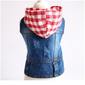 Water Wash Old Jean Small Dog Clothes Puppy Dog Jacket Vest Cowboy Pet Coat Plaid Hoodie Clothing For Small Med bbySTR