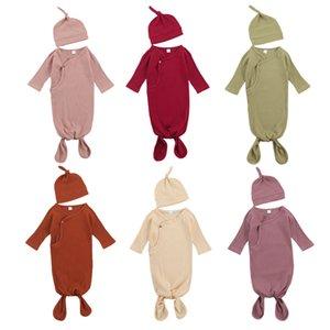 Girls Boys Stripe Sleeping Hats Infant Cotton Pit Solid Color Swaddling Bags Toddler Newborn Blanket With Z1726 2pcs set Baby Flokr