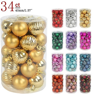 34pcs 4cm Tree Balls Bauble Xmas Party Hanging Ball Ornaments Christmas Decorations for Home New Year Gift