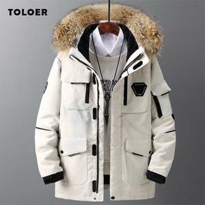 Kış Yeni Stil Erkek Ceket Rahat Pamuk-Yastıklı Kalın Sıcak Erkek Ceket Kürk Yaka Kapşonlu Erkek Giyim Trendy Parka Coat 201201
