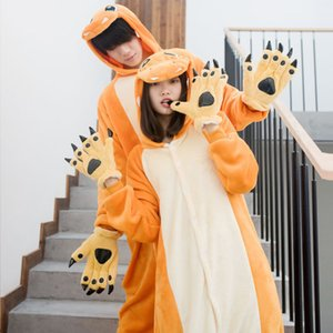 Flannel Little Fire Dragon Pajamas Animal Winter Cartoon Cute Yellow Autumn Couple Performance Costume Cosplay 8CNN