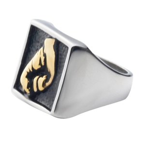 The Latest Fashion Golden Ring, Fidhting Gesture Hand Stainless Steel Ring ,free Shipping