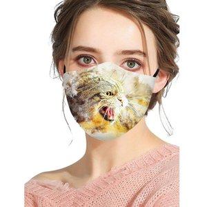 Designer Mask Breathable Fashion Cotton Dustproof Mask Personality Cat Wolf Pattern Printing Cotton Adult Christmas Face Mask DWA2304