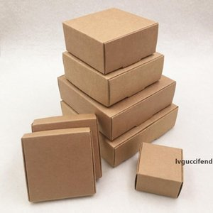 Small Kraft Paper box cardboard packing gift box handmade soap candy For Wedding Decorations Event Party Supplies 7 sizes 24pcs lot
