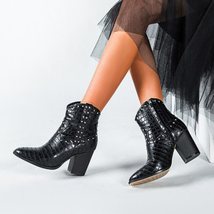 Rivet Motorcycle Western Cowboy Boots Women Animal Crocodile Pattern PU Leather High Heels Cowgirl Booties Ankle botas Shoes 201020
