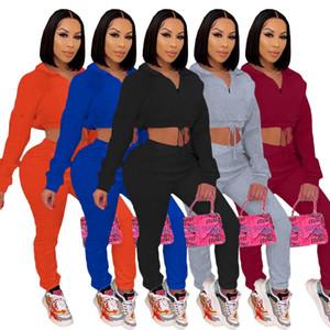 Solid Tute Colore Womens Designer due set pezzi Autunno Inverno maniche lunghe Zipper felpe e pantaloni della tuta casuale