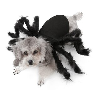 Halloween Pet Clothes Puppy Plush Cat Costume For Dogs Party Cosplay Funny Outfit Simulation Black Spider