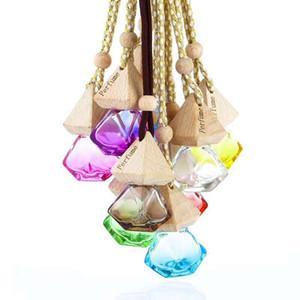 Car Perfume Bottle Pendant Essential Oil Diffuser 9 Colors Bag Clothes Ornaments Air Freshener Pendant Empty Glass Bottle Perfume