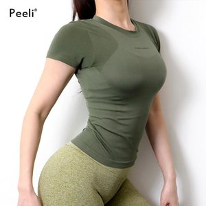 Peeli Letter Print Sport Shirts Solid Color Women Workout Top High Elastic Gym Yoga Top Running Breathable short sleeve T-Shirts