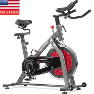 US Stock Indoor Exercise Cycling Bike Adjustable Stationary LCD Monitor With Pulse Sensor for Home Cardio Workout Belt Drive