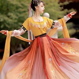 2020 trajes de dança Hanfu Mulheres vestido tradicional chinês Fada Hanfu Vestido Chinese Folk Dança Cosplay DQS5523