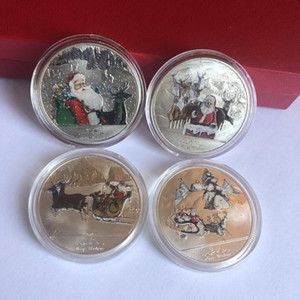 Colorful Christmas Coin Mental Santa Claus Commemorative Coin Souvenir Collectible Art High Quality and Brand Christmas Decoration OWE2123