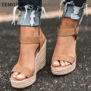 Temofon Plataforma Sandalias Peep Toe Tacones altos Cuñas Sandalias Tacones negros Verano Mujeres Zapatos de gran tamaño Romano Zapatos HVT907
