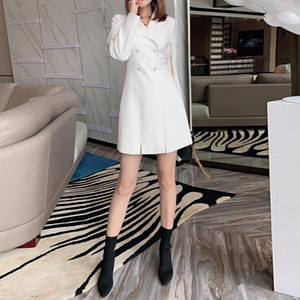 Autumn Fashion New Women'S Party Casual Pearl Button White Personality Lapel Lace Stitching Waist Mini Suit Dress