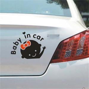 Мультфильм дизайн отражение автомобиля наклейка девушка узор черный белый наклейки чернокожие не отражают ребенка в автомобильном предупреждение наклейки новые 0 78sc l2
