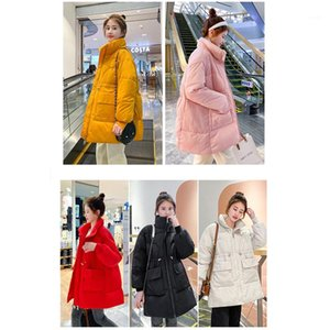 Outerwear Ladies Down Padded Jacket Designer Womens Stand Collar Drawstring Mid-length Coats Fashion Winter Female Solid Color Loose Thick