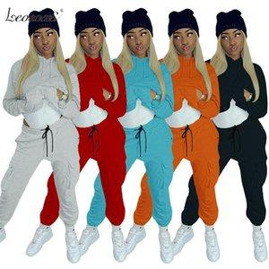 2020 осень зима толстовки Два Piece Set Женские костюмы повседневные брюки Толстые теплые Одежда женская Сплошной цвет Комбинезон Костюм 2XL