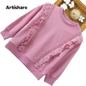 Girls Sweatshirts Spring Autumn Children Hoodies Kids Lace Flower T shirts Clothes For Girl Hoodie LJ201127