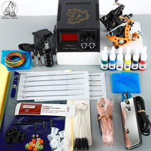 Tattoo Machine Kit Black Ink Tattoo Accessories LED Power Supplies All For Tattoo Bady Art Tools Lining And Shading Set