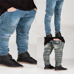Kru Dsenqi New Men Jeans Jeans Mens Strappato Patch Jeans Pant Man Jeans Pantaloni Biker per