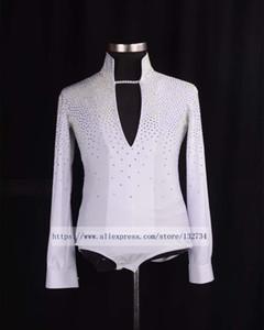 2020 Белый Новое прибытие Бальные танцы Бальные танцы Man Tops мужские рубашки Latin / Tango / Rumba танцевальная одежда Рубашка Top