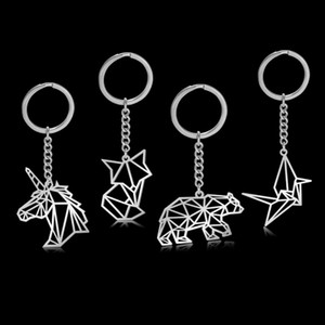 Skyrim moda zorro grúa leopardo unicornio encanto coche llavero llavero de acero inoxidable oso conejo pájaro llavero anillo titular regalo para hombres mujeres